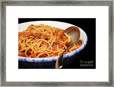 Spaghetti And Meat Sauce With Spoon Framed Print by Andee Design