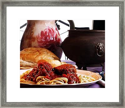 Spaghetti And Meatballs Framed Print by Camille Lopez