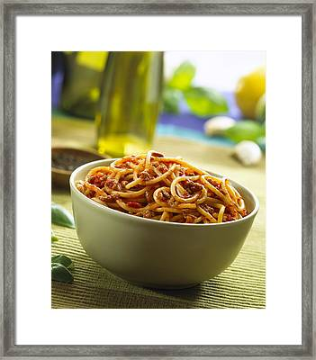 Spaghetti Bolognese Framed Print by Science Photo Library