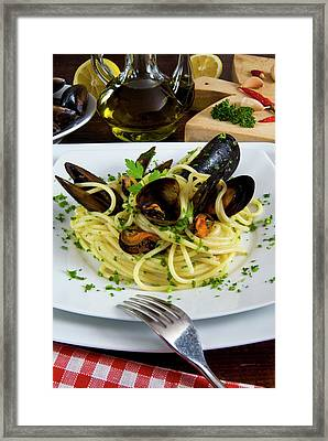 Spaghetti With Mussels (mytilus Framed Print by Nico Tondini