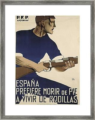 Spain. Civil War. Espa�a Prefiere Morir Framed Print by Everett