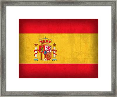 Spain Flag Vintage Distressed Finish Framed Print by Design Turnpike