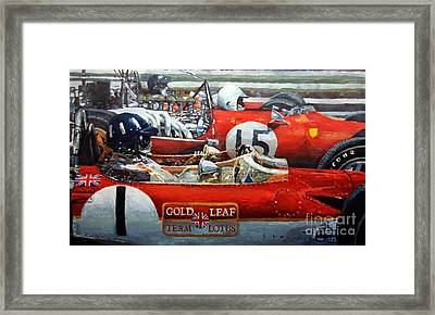 Spain Gp 1969  Lotus 49 Hill  Ferrari 312 Amon  Lotus 49b Rindt  Framed Print by Yuriy Shevchuk