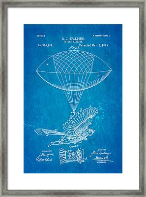 Spalding Flying Machine Patent Art 1889 Blueprint Framed Print by Ian Monk