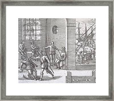 Spanish Traitors In Panama Framed Print by Theodore De Bry