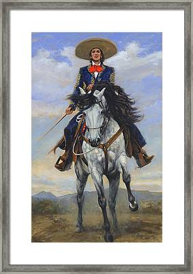 Spanish Woman On White Paso Fina Framed Print by Don  Langeneckert