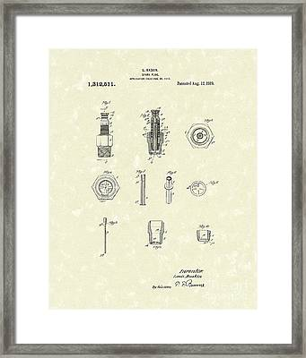 Spark Plug 1919 Patent Art Framed Print by Prior Art Design
