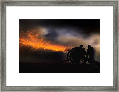 Spark Trails From Cannon Howitzer Blast Framed Print by Robert Jensen