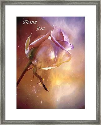 Sparkling Rose Thank You Framed Print by Anne Macdonald