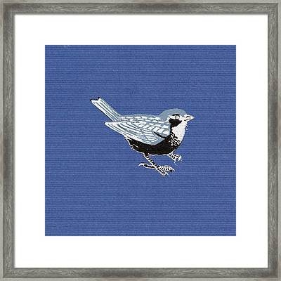 Sparrow, 2013 Woodcut Framed Print by Nat Morley