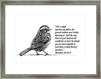 Sparrow Drawing With Scripture Framed Print by Janet King