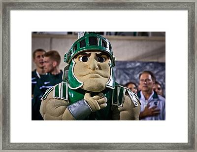 Sparty And Izzo National Anthem  Framed Print by John McGraw