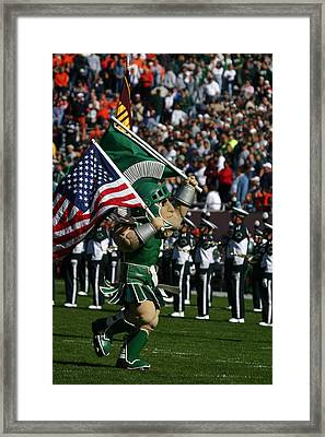 Sparty At Football Game Framed Print by John McGraw