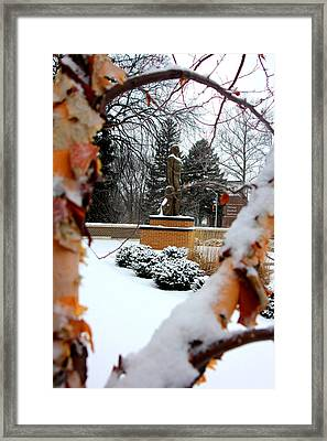 Sparty In The Winter Framed Print by John McGraw