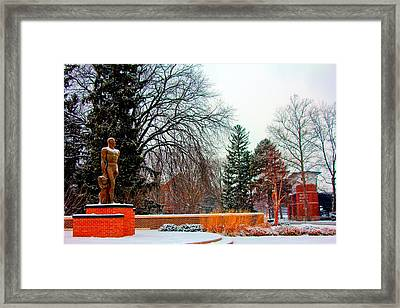 Sparty In Winter  Framed Print by John McGraw