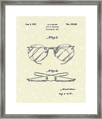 Spectacles 1937 Patent Art Framed Print by Prior Art Design