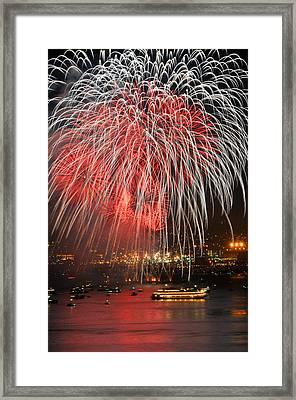 Spectator Boats Beneath A San Francisco 4th Of July Fireworks Show Framed Print by Scott Lenhart