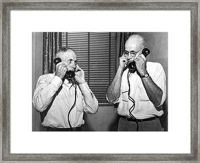 Speech Therapy On Phones Framed Print by Underwood Archives