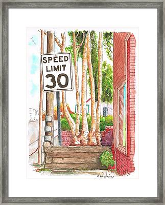 Speed Limit 30 Sign In Laguna Beach - California Framed Print by Carlos G Groppa