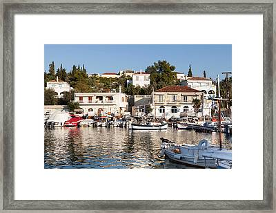 Spetses Island Old Harbour Framed Print by Paul Cowan