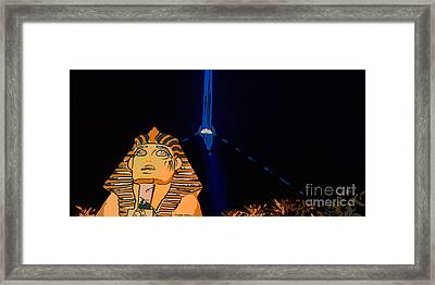 Sphinx And Luxor Hotel Beam Las Vegas - Pop Art Style - Panorami Framed Print by Ian Monk