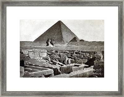 Sphinx And The Great Pyramid, 1887 Framed Print by Science Source