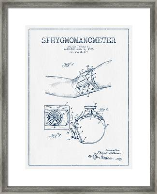 Sphygmomanometer Patent Drawing From 1955 - Blue Ink Framed Print by Aged Pixel