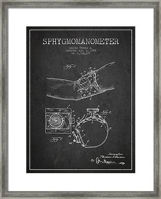 Sphygmomanometer Patent Drawing From 1955 - Dark Framed Print by Aged Pixel