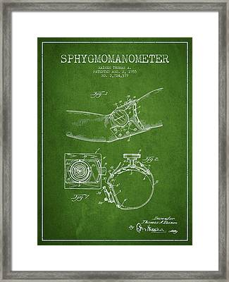 Sphygmomanometer Patent Drawing From 1955 - Green Framed Print by Aged Pixel