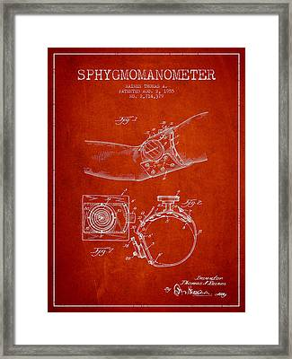 Sphygmomanometer Patent Drawing From 1955 - Red Framed Print by Aged Pixel