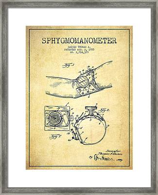 Sphygmomanometer Patent Drawing From 1955 - Vintage Framed Print by Aged Pixel
