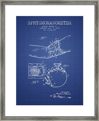Sphygmomanometer Patent From 1955  - Blueprint Framed Print by Aged Pixel