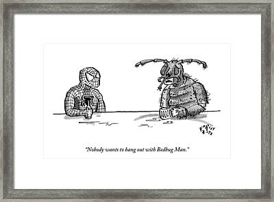 Spiderman And Bedbug Man Are Seen Speaking Framed Print by Farley Katz