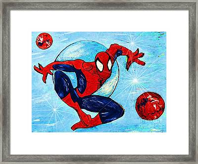 Spiderman Out Of The Blue 2 Framed Print by Saundra Myles