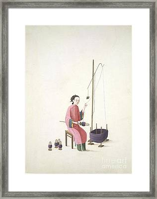 Spinning Silk, 19th-century China Framed Print by British Library