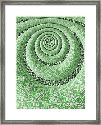 Spiral In Green Framed Print by John Edwards