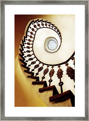 Spiral Staircase In Warm Colours Framed Print by Jaroslaw Blaminsky
