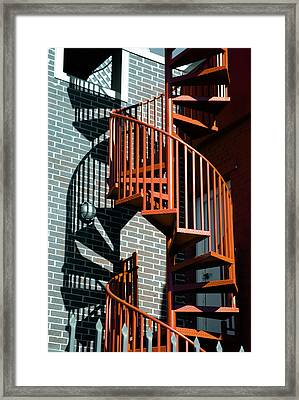 Spiral Stairs - Color Framed Print by Darryl Dalton