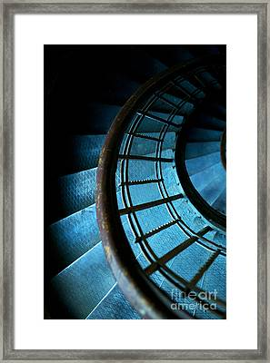 Spiral Stairs In Ocean Blue Framed Print by Jaroslaw Blaminsky