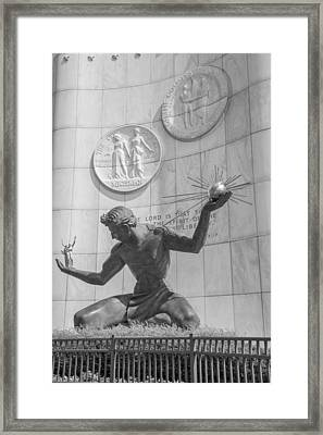 Spirit Of Detroit Black And White  Framed Print by John McGraw