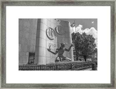 Spirit Of Detroit With Flag In Black And White  Framed Print by John McGraw