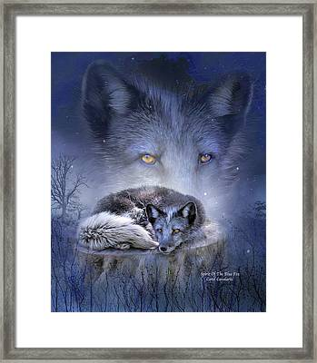 Spirit Of The Blue Fox Framed Print by Carol Cavalaris