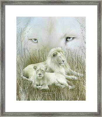 Spirit Of The White Lions Framed Print by Carol Cavalaris