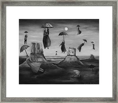 Spirits Of The Flying Umbrellas Bw Framed Print by Leah Saulnier The Painting Maniac