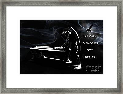 Spiritual Angel Art - Surreal Cemetery Angel With Coffin And Raven - Die With Memories Not Dreams Framed Print by Kathy Fornal