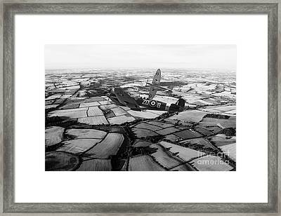 Spitfire Force - Mono   Framed Print by J Biggadike