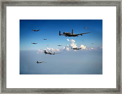Spitfires Escorting Lancasters Framed Print by Gary Eason