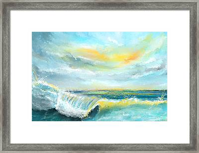 Splash Of Sun - Seascapes Sunset Abstract Painting Framed Print by Lourry Legarde