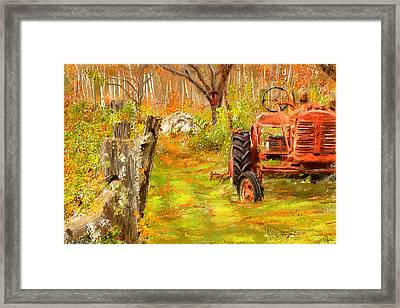Splendor Of The Past - Red Tractor Art Framed Print by Lourry Legarde