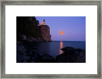 Split Rock Lighthouse - Full Moon Framed Print by Wayne Moran